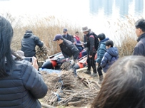 Incheon students and citizen helping to collect woody branches for bird nests © EAAFP