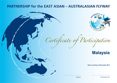 The Certificate of EAAFP Partner for Malaysia © EAAFP