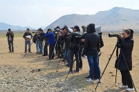 The competition of Bird identification during the event at the pond © National University of Mongolia & Mongolian Ornithological Society
